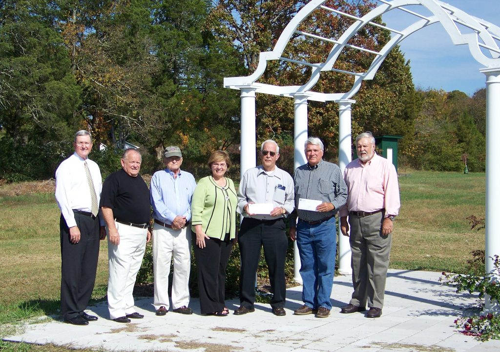 The first grant presentations were recently made from The Fund for Halifax County. Shown left to right are: Halifax Fund Advisory Committee members Logan Young, Bill Kelehar and Mayor Carroll Thackston; Community Foundation Director Debra Dodson; South Boston-Halifax County Museum Board President Paul Smith; and Bill McCabe, Southern Virginia Botanical Gardens Board Vice President Bill McCabe and President Dr. Charles Stallard.